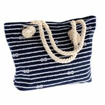 Sacoșă cu fermoar Nautical, mat. textil, albastru
