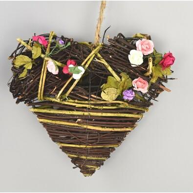 Proutěná závěsná dekorace Srdce, 19 cm