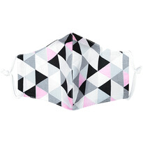 Maseczka bawełniana Triangle różowo-szary