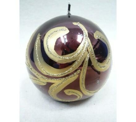 Vánoční svíčka hnědo-zlatá, 9 x 9 cm