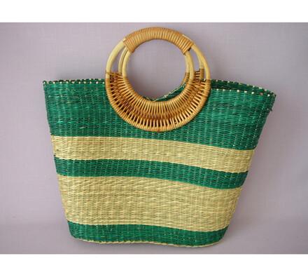 Nákupní taška s ratanovými uchy zelená