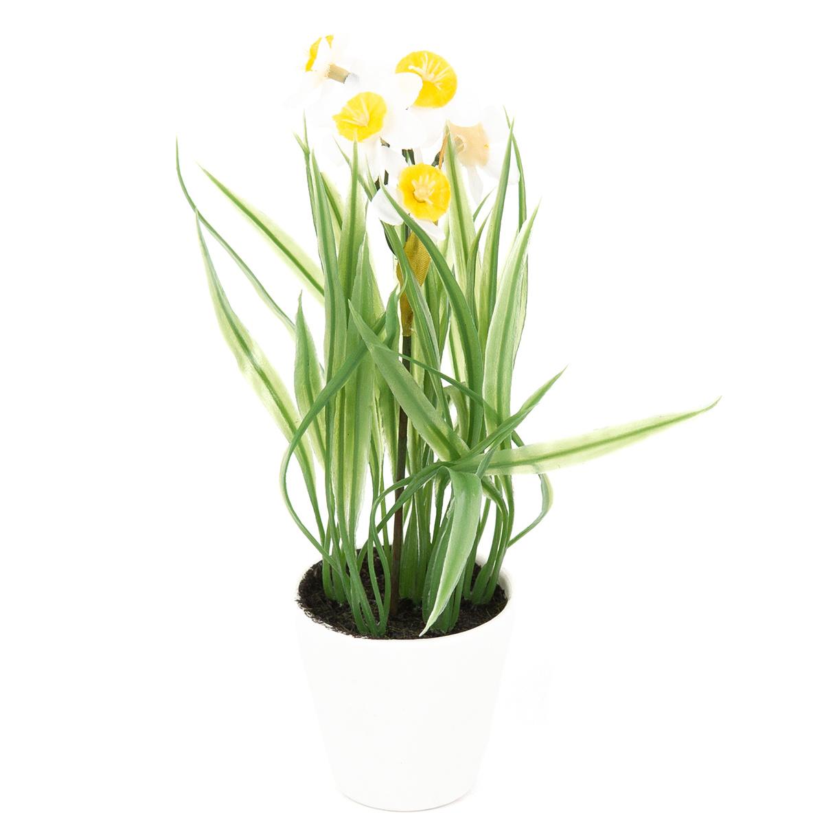 Umělá květina Narcis v květináči bílá, 22 cm