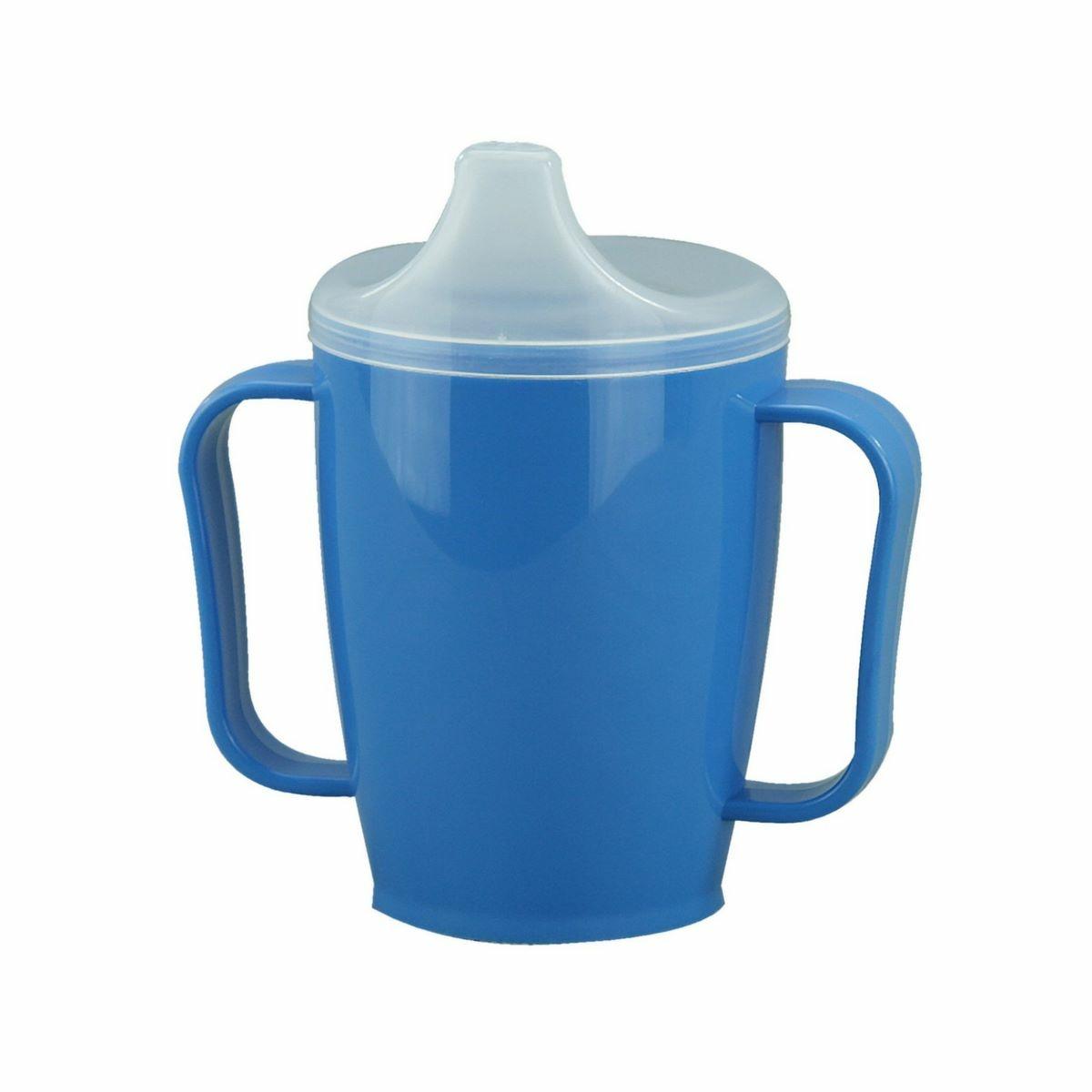 Hrnek s pítkem se dvěma víčky 250 ml, modrá