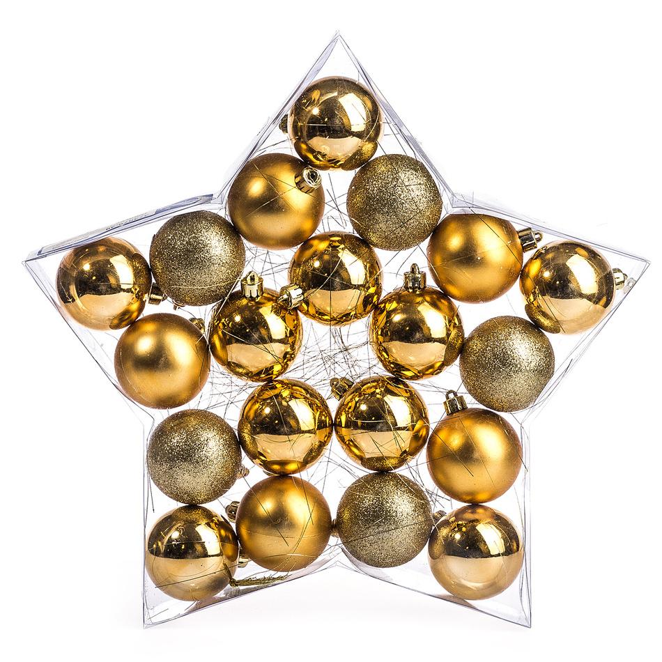 HTH Vánoční koule 20 ks zlatá pr. 6 cm