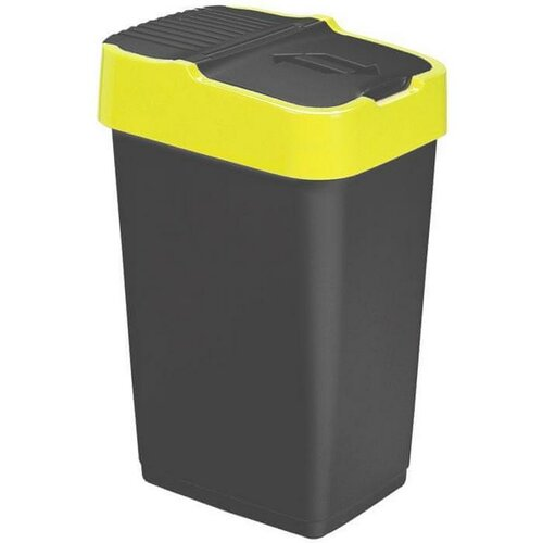 Heidrun Odpadkový kôš 60 l, čierny so žltým pruhom, 60 l