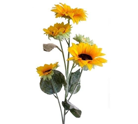 Umelá slnečnica s flokovanou stonkou a listami, 84 cm