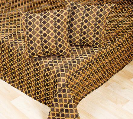 Gobelínový přehoz na postel, béžová + hnědá, 220 x 240 cm, 40 x 40 cm
