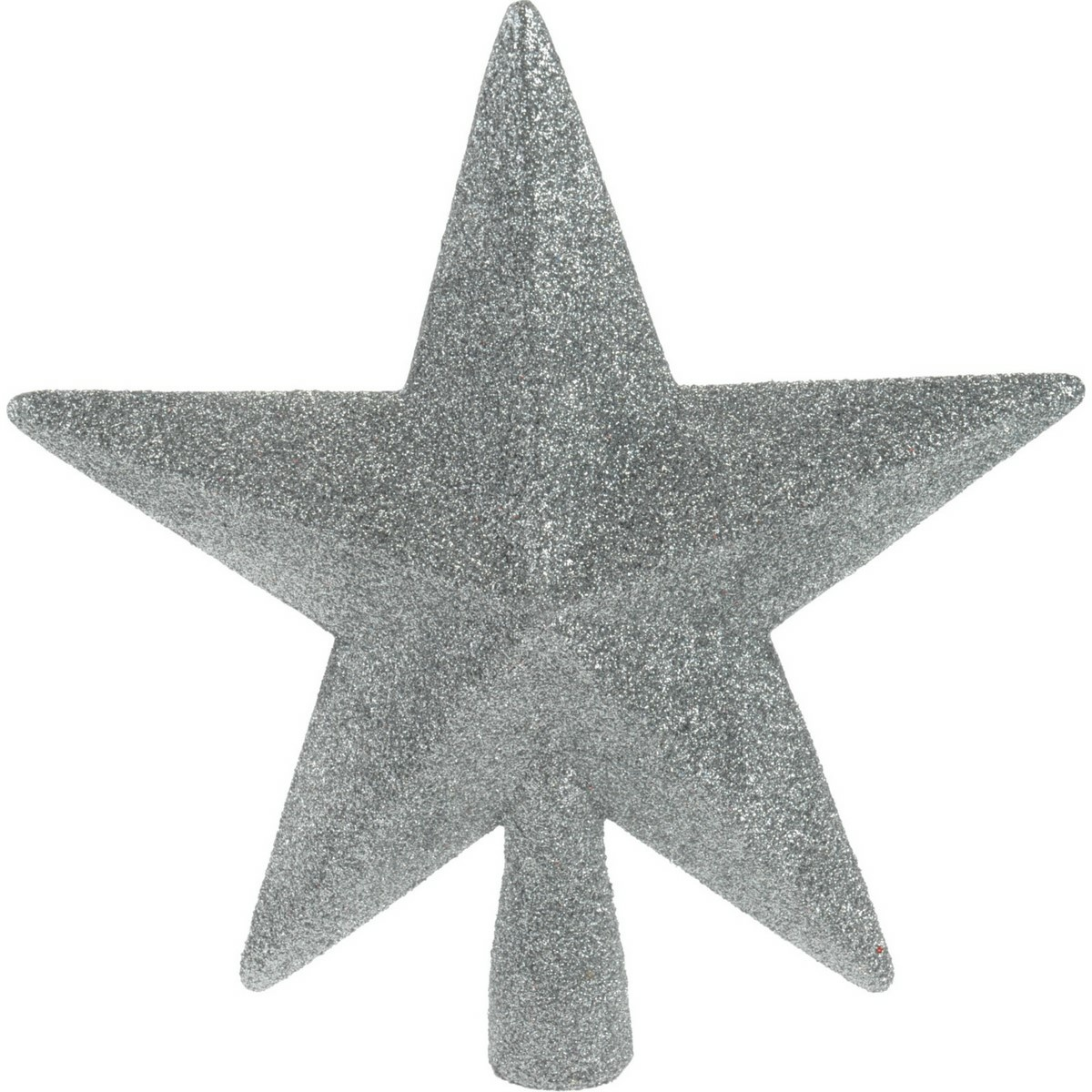 Vánoční špička na stromeček hvězda Oliveri stříbrná, 19 x 5 cm