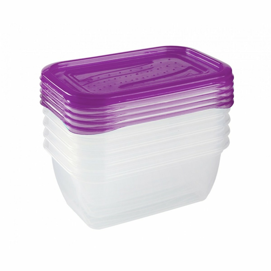 Keeeper Set dóz na potraviny vhodné do mrazničky Fredo Fresh, fialová 5x0,5L