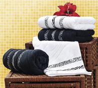 Žakárové ručníky s plastickým vzorem, 2 x 50 x 90 , bílá + černá, 50 x 90 cm