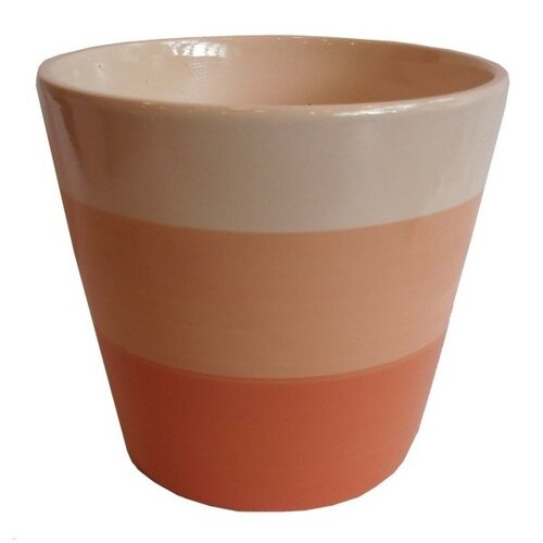 Osłonka ceramiczna na doniczkę Stripes brązowa, śr. 13,5 cm