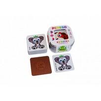 Pexeso 64 voděodolných karet v plechové krabičce Zvířátka, 6 x 6 x 4 cm