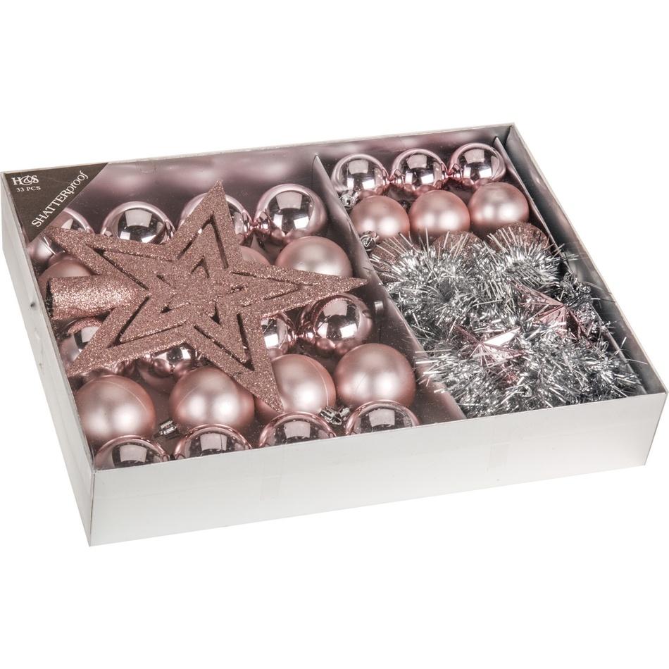 Sada vánočních ozdob Luxury růžová, 33 ks