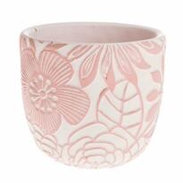 Flower beton virágtartó kaspó, rózsaszín, 14 x 13 x 14 cm