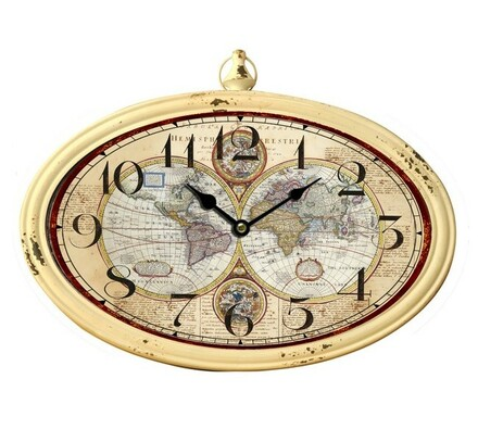 Nástěnné kovové hodiny zeměkoule, světlé