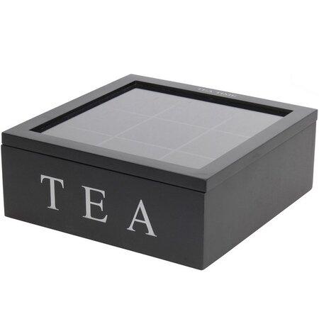 Koopman Box na čajové sáčky 23 x 23 x 9 cm, černá