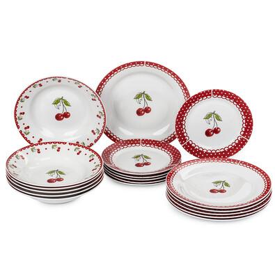 18-dielna súprava tanierov Cherry