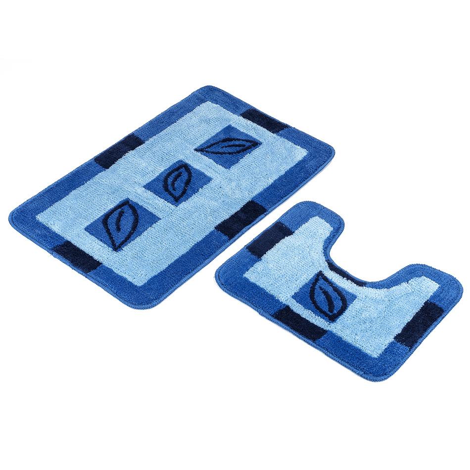 Euromat Sada kúpeľňových predložiek Borneo modrá, 80 x 50 cm, 50 x 40 cm