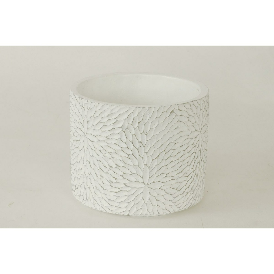 Autronic BCO759711 Betonový obal na květináč Flower bílá, 14 cm