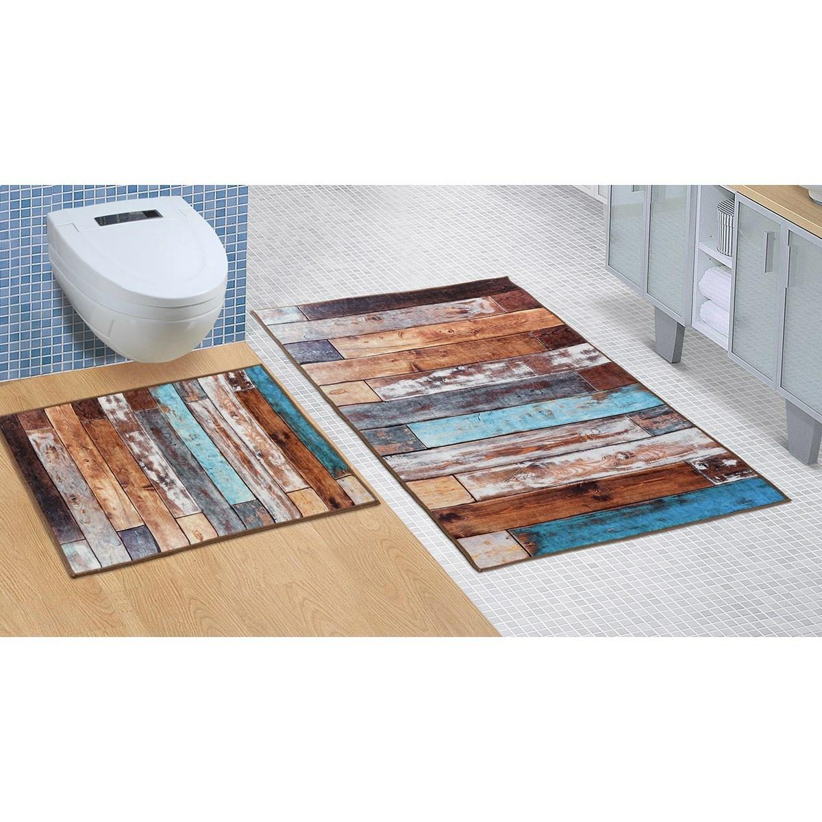 Poza Set covorase de baie Podea de lemn, 60 x 100 cm, 60 x 50 cm