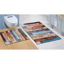 Bellatex Sada koupelnových předložek bez výkroje Dřevěná podlaha, 60 x 100 cm, 60 x 50 cm