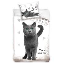 Lenjerie de pat din bumbac pentru copii Pisică, 140 x 200 cm, 70 x 90 cm
