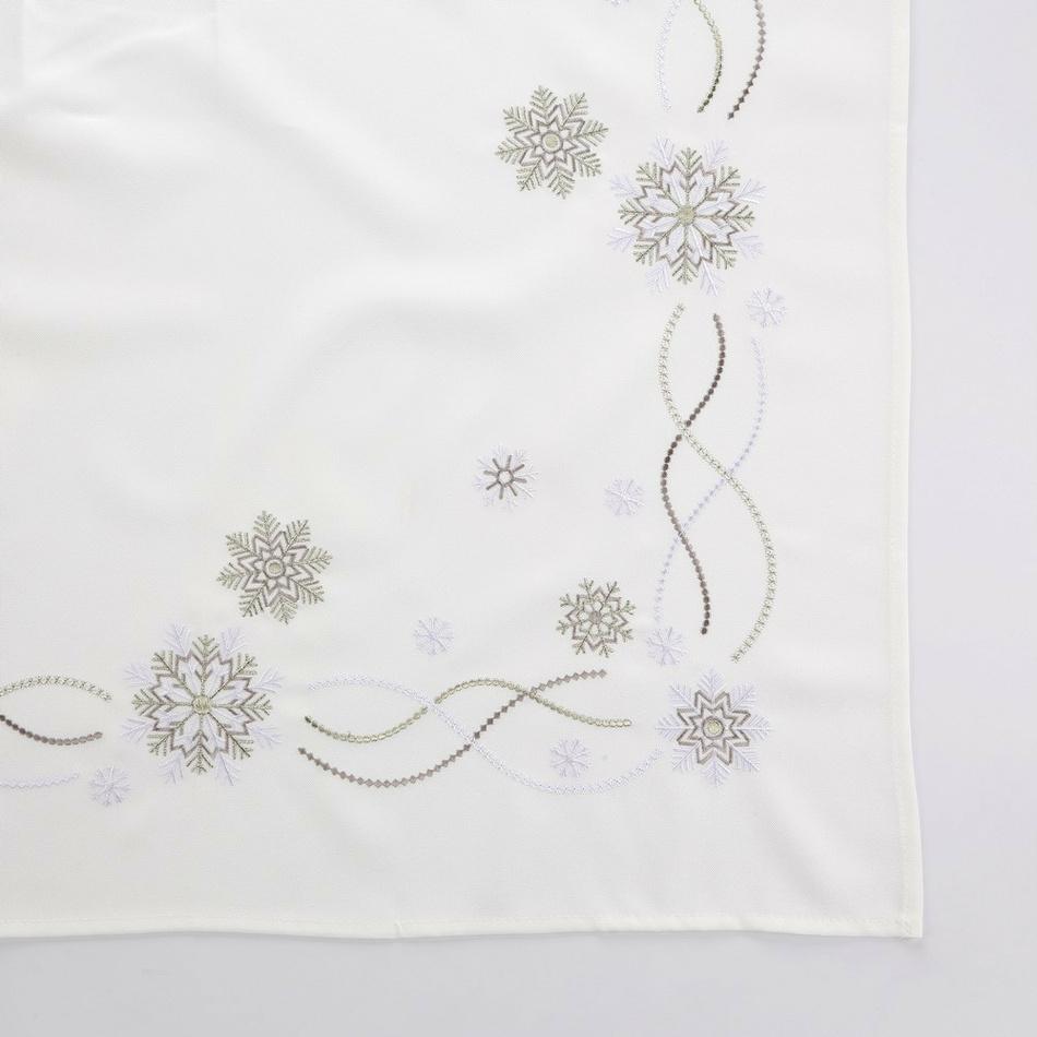 Altom Vánoční ubrus Snow Flakes bílá, 80 x 80 cm