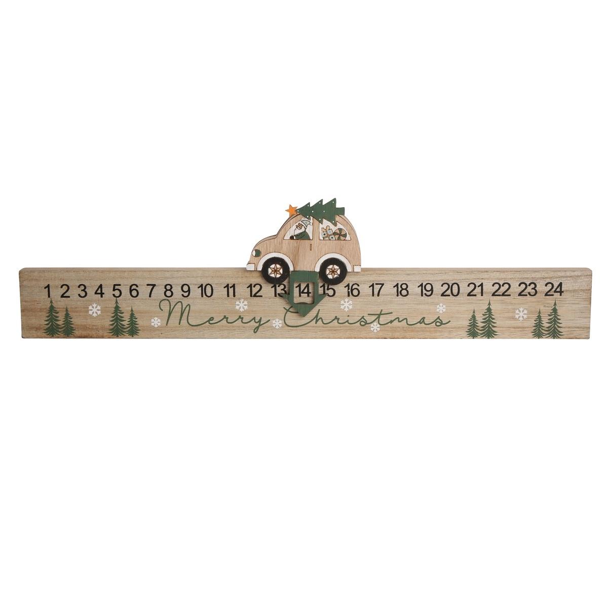 Altom Dřevěný adventní kalendář Car, 47,5 x 10 cm
