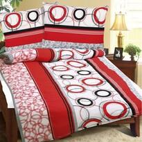 Lenjerie de pat din crep Cercuri, roşu, 140 x 200 cm, 70 x 90 cm