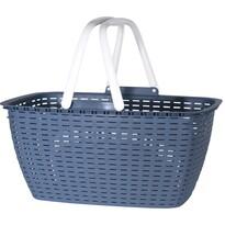 Rattan bevásárlókosár 43 x 21,5 cm, kék