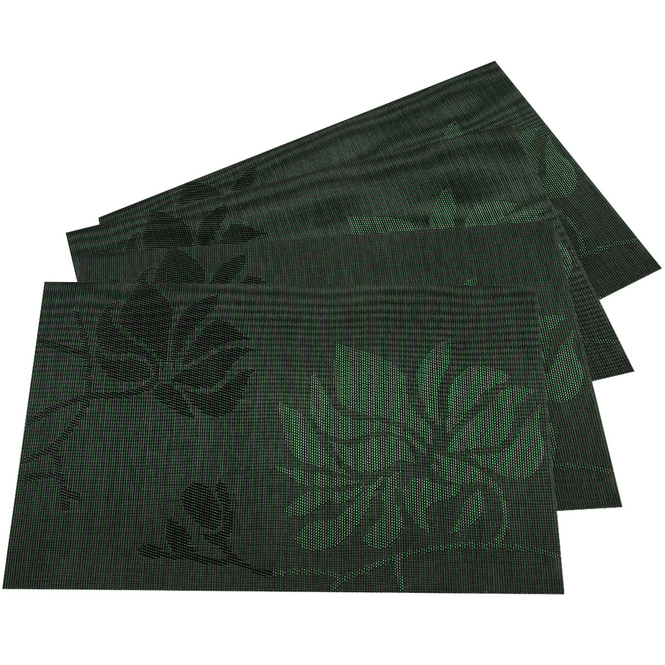 Produktové foto JAHU Prostírání Listy tmavě zelená, 30 x 45 cm, sada 4 ks