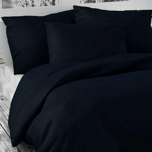 Saténové povlečení Luxury Collection tmavě modrá, 140 x 200 cm, 70 x 90 cm