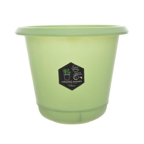 Plastikowa doniczka Pastels zielony, 14 cm
