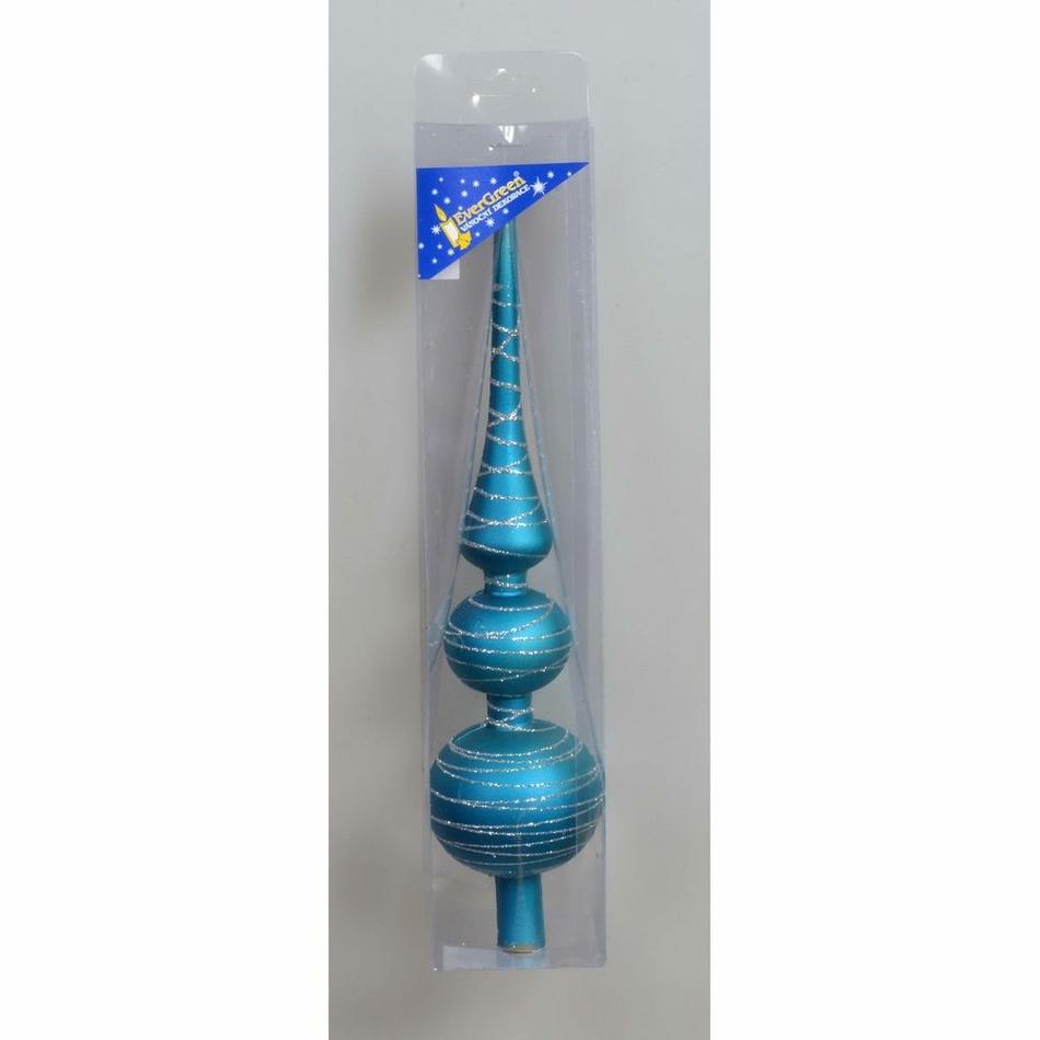 Vánoční špice Proužky tyrkysová, 30 cm