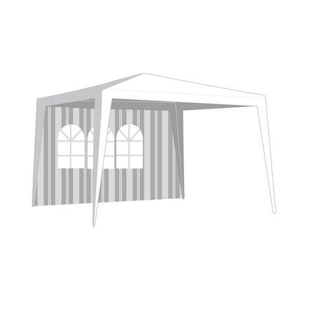 Kerti sátor oldal, ablakkal, vonalakkal