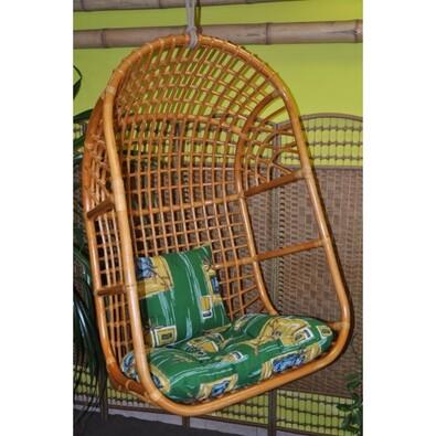Ratanová závěsná houpačka L medová, polst zelený