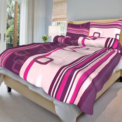 Bavlněné povlečení Tonda fialový, 140 x 220 cm, 70 x 90 cm