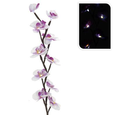 Umělá květina orchidej LED světlo růžová