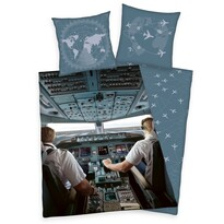 Dziecięca pościel bawełniana W samolocie, 140 x 200 cm, 70 x 90 cm