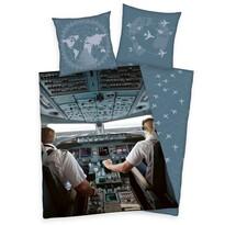 Lenjerie de pat, din bumbac, În avion, 140 x 200 cm, 70 x 90 cm