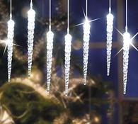 Svítící rampouchy, transparentní, 18 cm