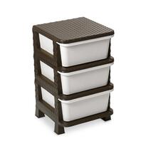 Komoda 3 szuflady sztuczny Rattan, biały i brązowy