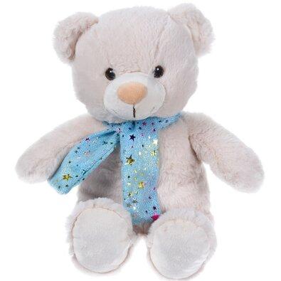 Plyšový medvídek se šálou béžová, 29 cm