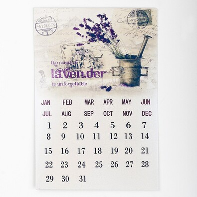 Kovový kalendář levandule