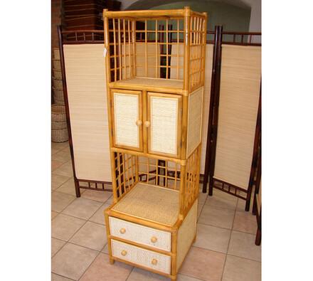 Ratanová skříňka s dvířky, světle hnědá, 50 x 45 x 165 cm