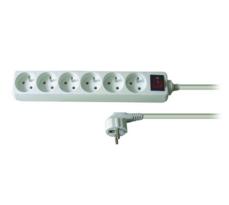 Solight PP72 Prodlužovací kabel 6 zásuvek bílá, 3 m