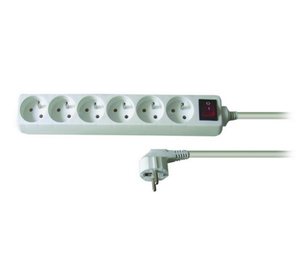 Solight Prodlužovací kabel s vypínačem 6 zásuvek délka 3 m bílý
