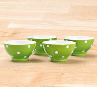 Miska 4 ks zelená s puntíky