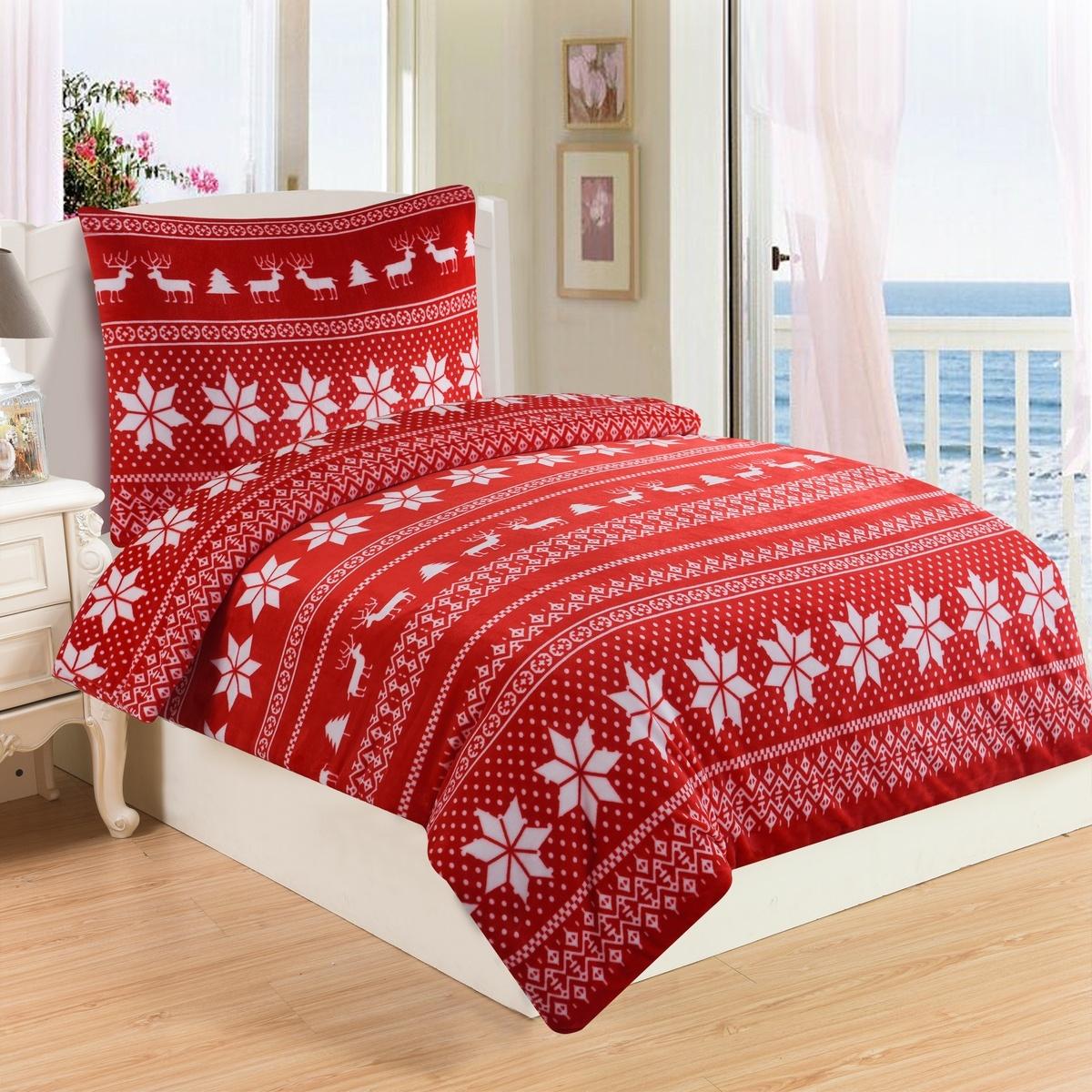 Jahu Povlečeni mikroplyš Winter červená, 140 x 200 cm, 70 x 90 cm