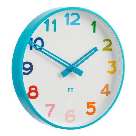 Ceas de perete Future Time FT5010BL Rainbow blue, pentru copii, de design, diam. 30 cm